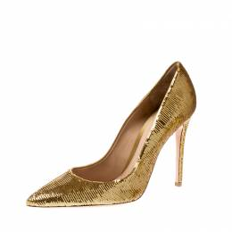 Gianvito Rossi Metallic Gold Sequin Pointed Toe Pumps Size 41 206983