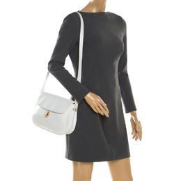 Nina Ricci White Leather Flap Shoulder Bag 200605