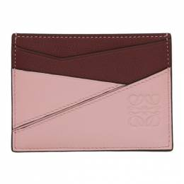 Loewe Pink and Burgundy Puzzle Card Holder 192677F03700101GB