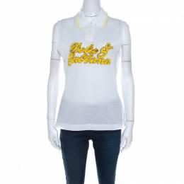 Dolce&Gabbana White Pique Cotton Sequin Logo Embroidered Sleeveless Polo Top M 207216