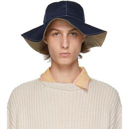 Marni Blue and White Stitch Bucket Hat 192379M14000101GB