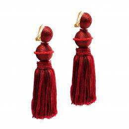 Oscar De La Renta Marsala Red Silk Tassel Gold Tone Clip-on Earrings 196021