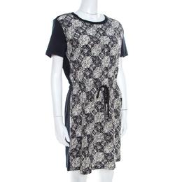 Louis Vuitton Navy Blue Jersey and Silk Printed Monogram Dress M 208388