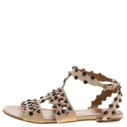 Alaia Beige Stud Embellished Cutout Suede Ankle Strap Flat Sandals Size 39.5