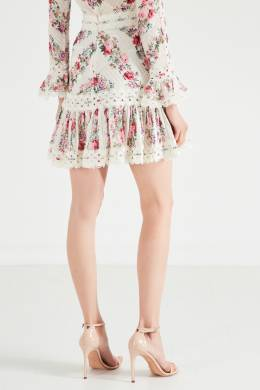 Мини-юбка с принтом и кружевом Honour Zimmermann 1411139827