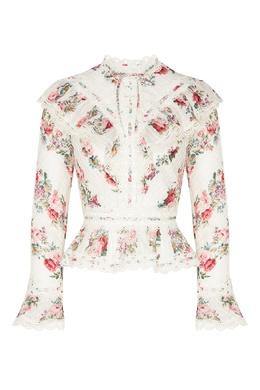 Блуза с принтом и кружевом Honour Zimmermann 1411139828