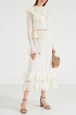 Платье с поясом и оборками Allia Zimmermann 1411139838