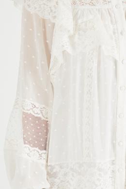 Белое платье мини с горохом и кружевом Zimmermann 1411139830