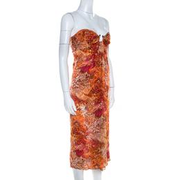 Celine Orange Abstract Print Sheer Silk Pleated Strapless Bodice Maxi Dress S 205321