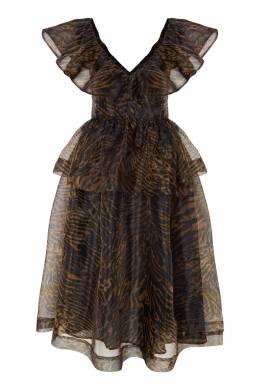 Платье с тигровым принтом и оборками Ganni 2979139967