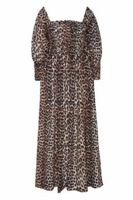 Платье с присборенным лифом и принтом Ganni 2979139958