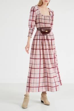Платье розового цвета в клетку Ganni 2979139906