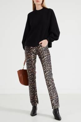 Леопардовые джинсы с разрезами Ganni 2979139965