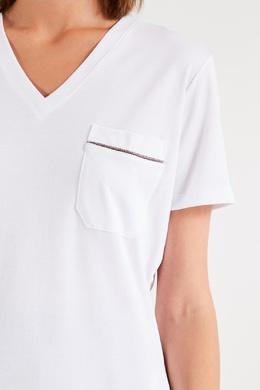 Белая футболка с V-вырезом Eleventy 2014138553
