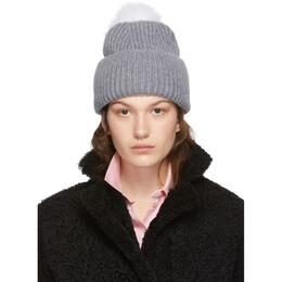 Yves Salomon Grey Bonnet Pompom Beanie 192594F01400401GB
