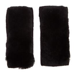 Yves Salomon Black Rex Rabbit Fur and Cashmere Gloves 192594F01201101GB