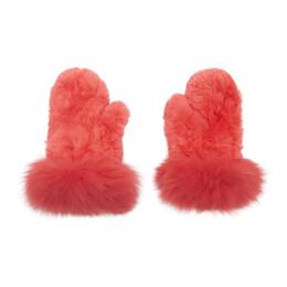 Yves Salomon Red Rex Rabbit and Fox Fur Mittens 192594F01201401GB