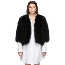 Yves Salomon Black Feather Jacket 192594F06202101GB