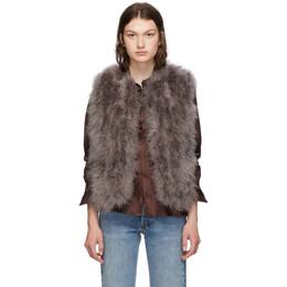 Yves Salomon Grey Feather Vest 192594F06202301GB