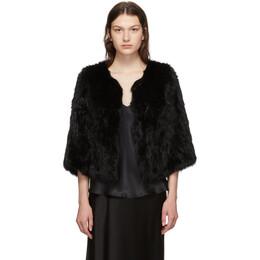 Yves Salomon Black Rabbit Fur Knitted Jacket 20WY484850KLLUN