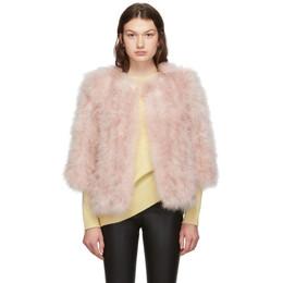 Yves Salomon Pink Feather Jacket 192594F06202003GB