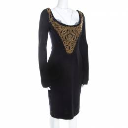 Emilio Pucci Black Wool Gold Beaded Long Sleeve Corset Dress M