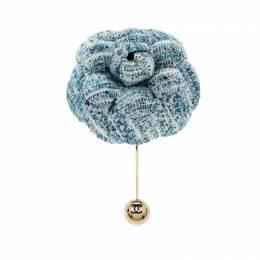 Chanel Camellia Blue Tweed Gold Tone Brooch 208640