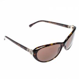 Chanel Tortoise/Brown 5190 Collection Bouton Oval Sunglasses 208698