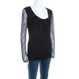 Escada Black Lace Overlay Jersey Crystal Embellished Scoop Neck Erbrou Top XL 201045