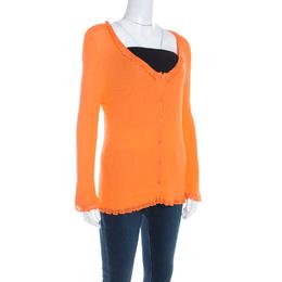 Escada Orange Rib Knit Crochet Trim Button Front Cardigan L 201066