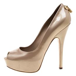 Louis Vuitton Beige Patent Leather Oh Really! Peep Toe Platform Pumps Size 40 183642
