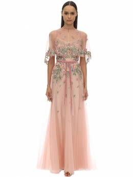 Long Embroidered Tulle Dress W/ Cape Marchesa Notte 70IWVN007-QkxVU0g1