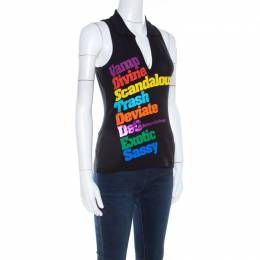 Dolce&Gabbana Black Printed Cotton Jersey Sleeveless Polo T Shirt M 207244