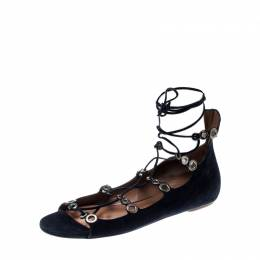 Alaia Blue Suede Eyelet Detail Tie Up Flat Sandals Size 41 209099