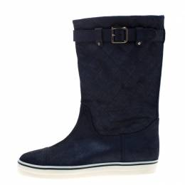 Chanel Blue Textured Quilted Leather Mid Calf Boots Size 38 208860