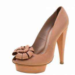 Giambattista Valli Beige Satin Flower Detail Peep Toe Platform Pumps 38.5 208265
