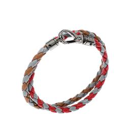 Tod's Multicolor Braided Leather Gunmetal Tone Double Wrap Bracelet Tod's