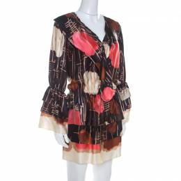 M Missoni Multicolor Abstract Print Silk Drop Waist Tiered Dress S