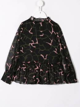 Emporio Armani Kids - блузка с оборками и принтом C300NUSZ950039860000