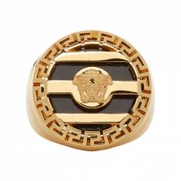 Versace Gold and Black Medusa Ring DG56400 DJMR
