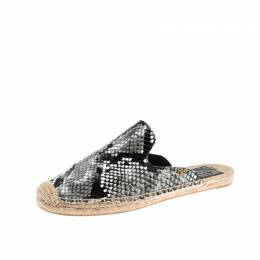 Tory Burch Tricolor Python Embossed Leather Espadrille Mules Size 38 209151