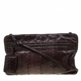 Bottega Veneta Dark Brown Snakeskin Convertible Clutch 208633