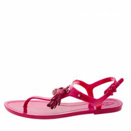 Tod's Fuchsia Pink Jelly Tassel Detail Thong Flats Size 36 209278