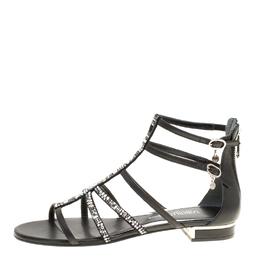 Loriblu Black Leather Crystal Embellished Gladiator Flat Sandals Size 38 153600
