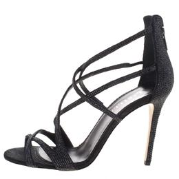 Le Silla Black Crystal Embellished Suede Strappy Sandals Size 38.5 99021