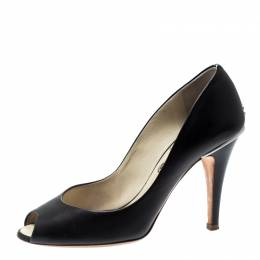 Chanel Black Leather Peep Toe CC Pumps Size 37 209713