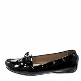 Stuart Weitzman Black Patent Leather Bow Detail Loafers Size 38 209813
