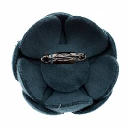 Chanel Blue Flower Felt Pin Brooch 209723