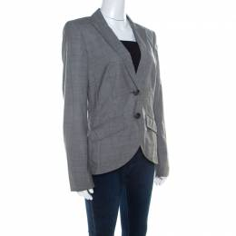Escada Grey Wool Blend Houndstooth Patterned Double Button Blazer M 209288