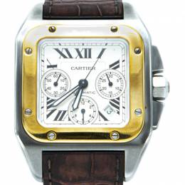 Cartier White 18K Yellow Gold & Stainless Steel Santos 100 Chronograph Men's Watch 41X55mm